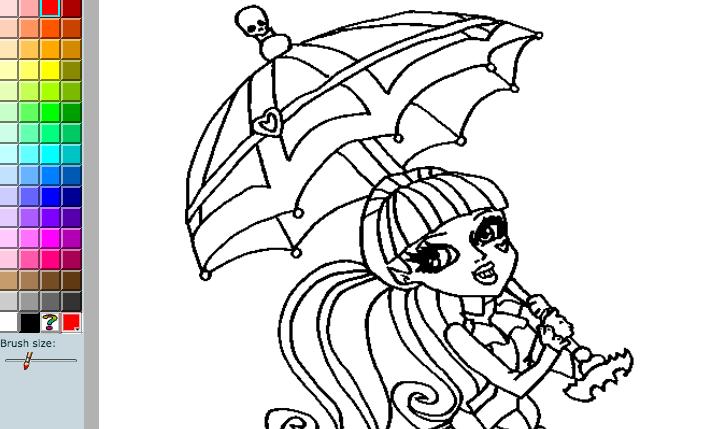Игра Раскраска Монстр Хай: Дракулаура с зонтиком играть ...